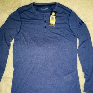 Under Armour Royal 3 Button Long Sleeve Shirt Med